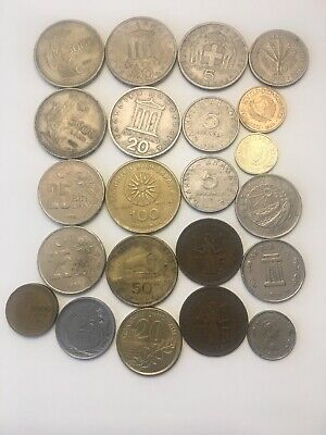 Greek & Turkish Coin Lot: Greece, Turkey, Cyprus & Malta x23 Coins