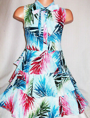 Girls Blue Mix Tropical Print Vintage Tie Neck Tiered Ruffle Cotton Party Dress