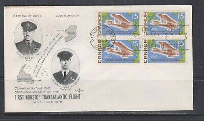 Can 494 - 1969 15c Alcock-Brown Flight - Tenant Block of 4 FDC by Rose Craft
