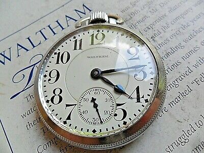Clean 1915 Antique Waltham Royal Open Face 16 Size 17J Adj. Pocket Watch Runs