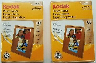 "Lot of 2 Kodak Photo Paper Instant Dry Gloss Brilliant 4"" x 6""100 Sheets Brand"