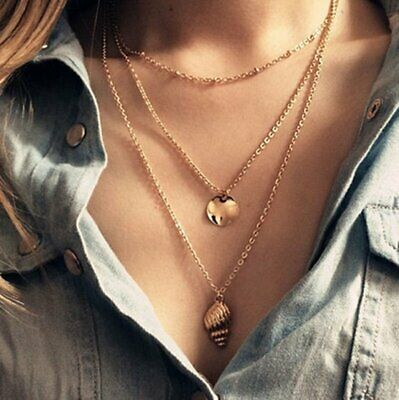 BOHO Multilayer Shell Women Bead Round Choker Pendant Necklace Chain Jewelry New
