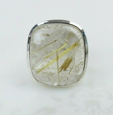 New old stock sterling silver golden hay rutilated quartz  style ring size 5.75