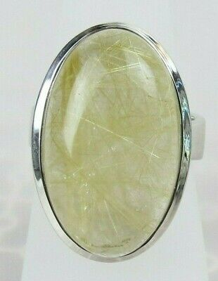 New old stock sterling silver oval gold rutilated quartz style ring size 6.5