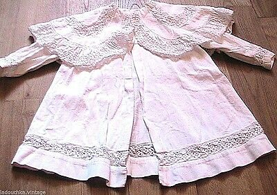 FRENCH 1800s BABY INFANT BAPTISM CHRISTENING WHITE DRESS COAT~ EMBROIDERED ~MINT