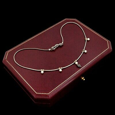Antique Vintage Art Deco Sterling Silver Plated Faux Pearl Snake Chain Necklace