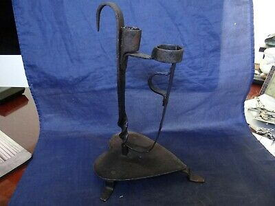 Fine Rare Antique 18 Century Wrought Iron Tabletop Heart Shape Base Candlestick