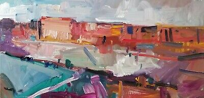 JOSE TRUJILLO Desert Hills Mesas Impressionist Abstract ORANGE Oil Painting NR