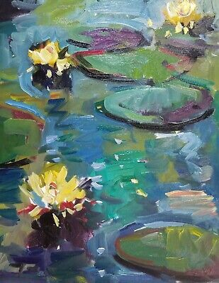 JOSE TRUJILLO Oil Painting Impressionism Waterlilies Pond Yellow Bloom Lilies