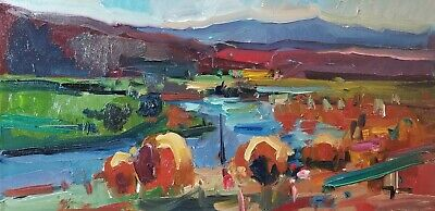 JOSE TRUJILLO Oil Painting Impressionism River 12X24 CONTEMPORARY ARTIST SIGNED