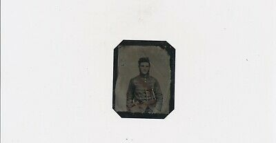 1861-1864 Civil War Soldier w Sword Odd Musical Uniform Tinted Jones & Bro. Pa.