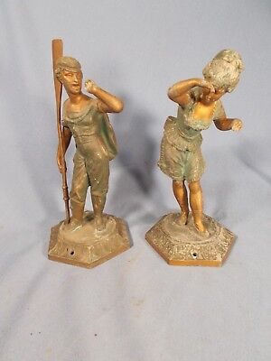 ANTIQUE SAILOR w OAR & GIRL ANSONIA AMERICAN CRYSTAL PALACE CLOCK STATUES c1880s