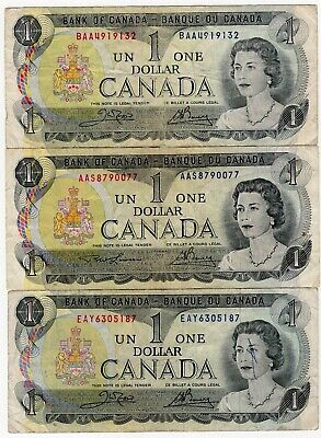 Lot Of 3 1973 Bank Of Canada Last One 1 Dollar Bank Notes