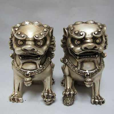 antique excellent old Tibet silver carved guard Foo Dogs Lion pair statues