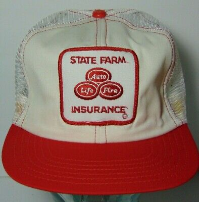 Old Vintage 1980s RED WHITE STATE FARM INSURANCE PATCH SNAPBACK TRUCKER HAT CAP