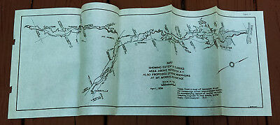 1936 Sketch Map Showing Flooded Area Rochester NY Proposed Reservoirs Mt Morris