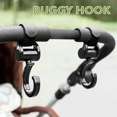 2X Baby Stroller Hooks Hanger 360° Shopping Bag Pram Cart  Accessories Clip 20KG