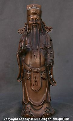 """12"""" Old Chinese Bronze Feng Shui Stand Mammon Money Wealth God Hold Ru Yi Statue"""