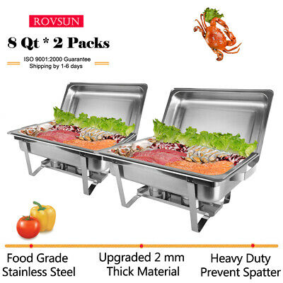 2 PACK CATERING STAINLESS STEEL CHAFER CHAFING DISH SETS 8QT 9L for Christmas