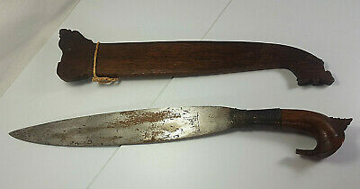Antique Philippine Moro Barong Dagger With Carved Wood Sheath