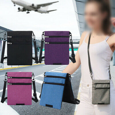 1x Travel Secure Neck Pouch Passport Card Ticket Money Secret Wallet Holster Bag
