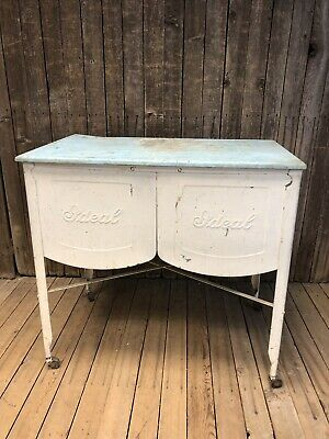 Vintage Double Basin Wash Tub stand metal galvanized rustic planter cooler white