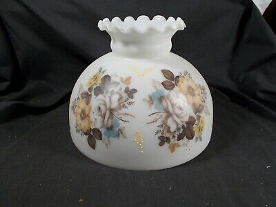 Vintage Floral White Milk glass Dome style Shade Oil Lamp 10in base Fluted Top