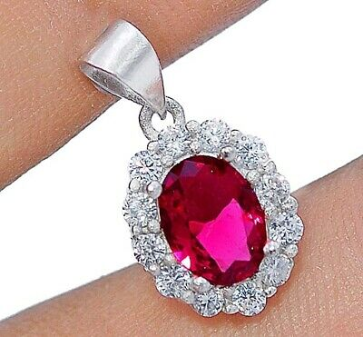 Buy Now 1CT Ruby & White Topaz 925 Solid Sterling Silver Pendant Jewelry, V4
