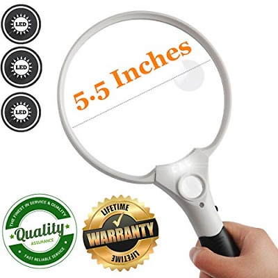 Jumbo Reading Magnifying Glass 3 Led Light Seniors Illuminated Handheld Magni...
