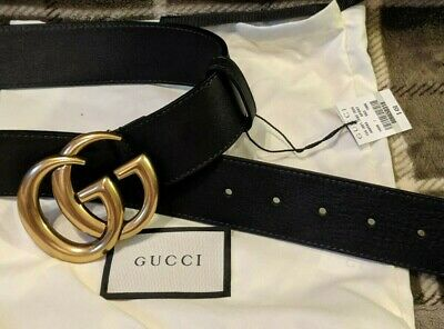 522fdf32b GUCCI BELT PEARL Gold GG Buckle Marmont Leather Black sz 75 / 30 fit ...