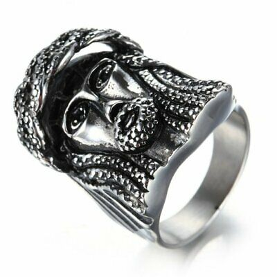 MENDEL Mens Vintage Chinese Lion Mask Head Ring Band Stainless Steel Size 8-13