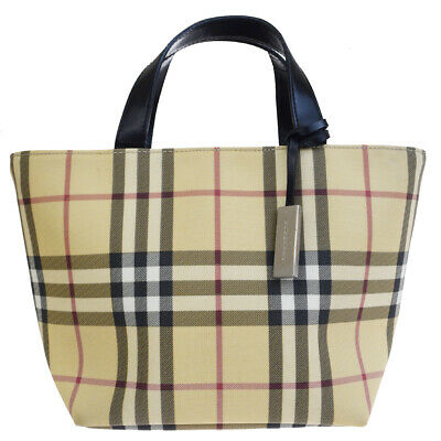 45ad282120 Authentic BURBERRY LONDON Nova Check Tote Hand Bag PVC Leather Beige 01BJ248