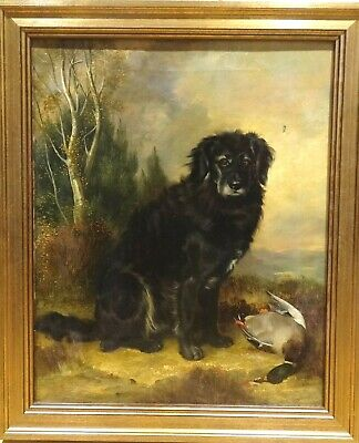 Large 19th Century English Black Retriever Dog & Mallard Antique Oil Painting