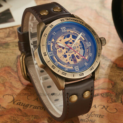 SHENHUA Mens Automatic Mechanical Watch Skeleton Gold Steel Stainless Wristwatch