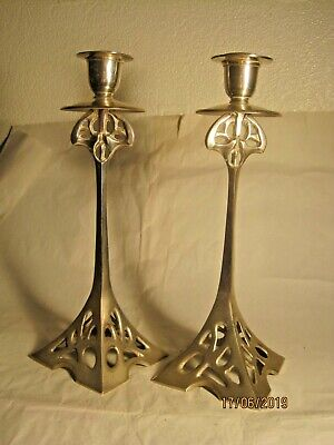 Attractive Pair Of Art Deco Style Epns Candle Sticks
