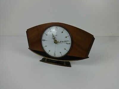 Vintage Clock Metamec 70s Art Deco Style Battery Mantle White Brown Gold Wood