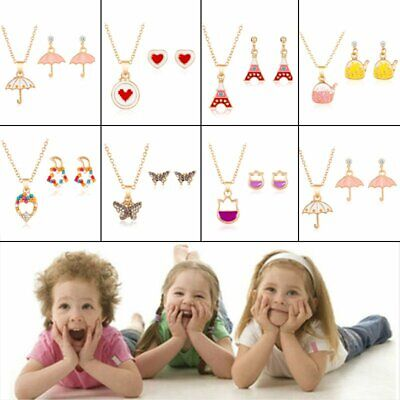 Lovely Kids Enamel Cartoon Crystal Necklace Stud Earring Set Children Party Gift