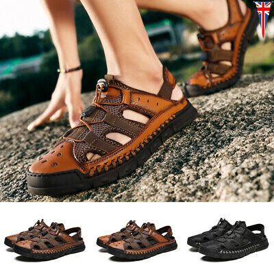 Mens Strapped Sandal Hiking Shoes Close Toe Sports Outdoor Hook & Loop Non Slip