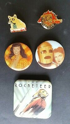 Betty PAGE+ ROCKETEER+ COMMANDER CODY + Bulldog Cloisonie + Buttons 1990's