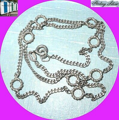 Vintage Sterling Silver Circles of Life Rings Chain Choker Necklace 5.7g Good