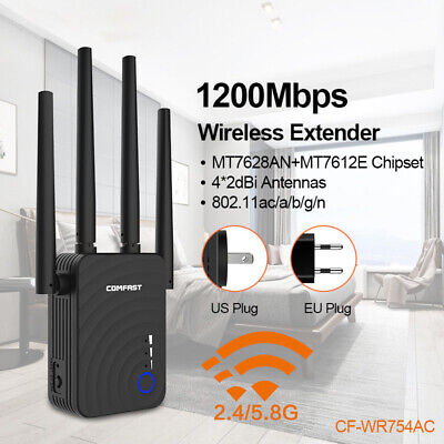 New Dual Band 1200Mbps WiFi Repeater Wireless Range Extender Booster Network