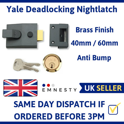 Yale YAL85DMGSC 85 Deadlocking Nightlatch DMG Satin Chrome Cylinder 40mm Backset