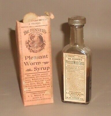c1920 Antique Quack Medical Bottle Box Dr Fenner's Pleasant Worm Syrup Le Roy NY