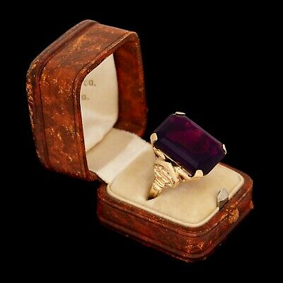Antique Vintage Art Deco Retro 10k Yellow Gold ROMANY Amethyst Paste Ring S 6.75