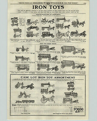 1922 PAPER AD Cast Iron Toys Ice Coal Wagon Fire Engines Trains Royal Circus