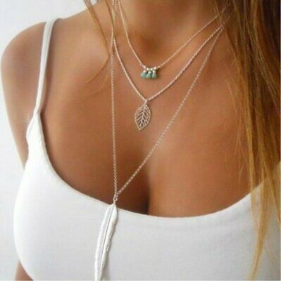 BOHO Multilayer Feather Leaf Beads Women Choker Pendant Necklace Chain Jewelry