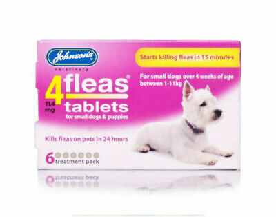 Johnsons 4Fleas Tablets For Dogs. Dogs Over 4 Weeks Between 1-11kg  6 Pack