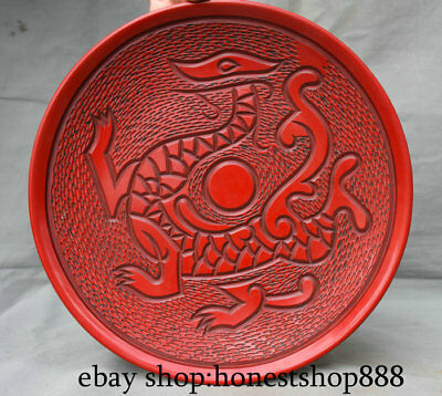 """12.2"""" Marked Old Chinese Red Lacquerware Dynasty Palace Dragon Plate Dish"""