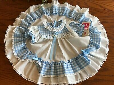 Vintage Roanna Toddler Baby Girl Dress Blue & White Gingham Size 9 mo NWT~NOS