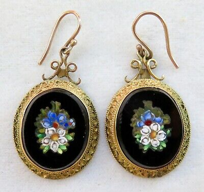 Antique Victorian Pietra Dura Micro Mosaic 10K Etruscan Gold Dangle Earrings